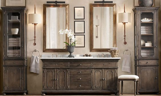 This bathroom i love the cabinets are unique the stain - Restoration hardware bathroom cabinets ...