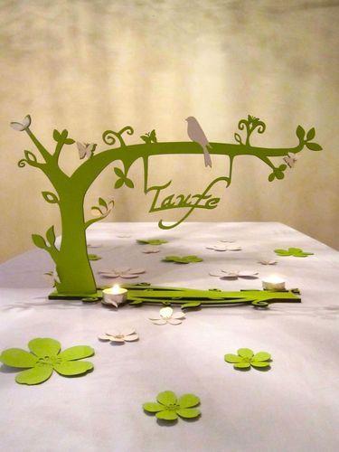 Taufdeko bezaubernder Garten grün Geschenktisch/ Gästebuchtisch mit Pascal & Jessica