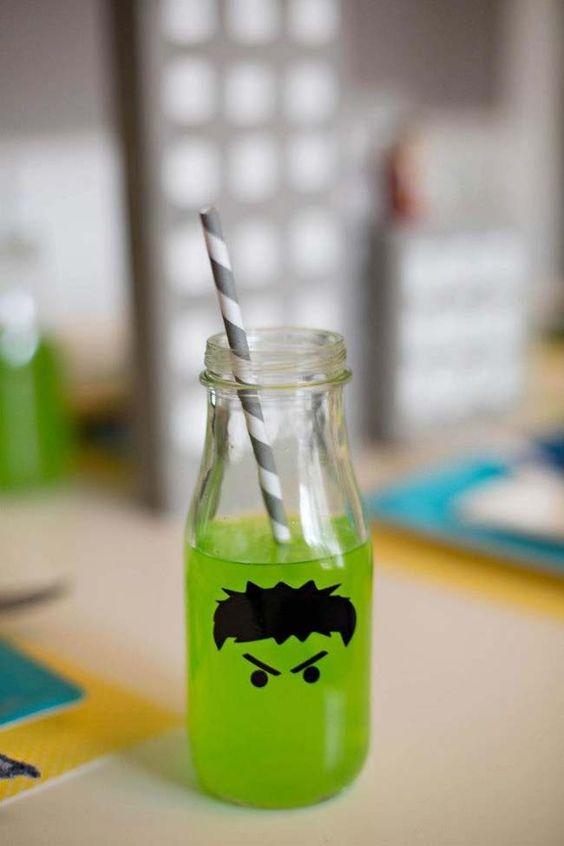 Incredible Hulk drinksing glasses for Avengers superhero party