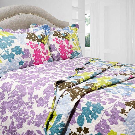 Danielle Reversible Quilt Set, Purple