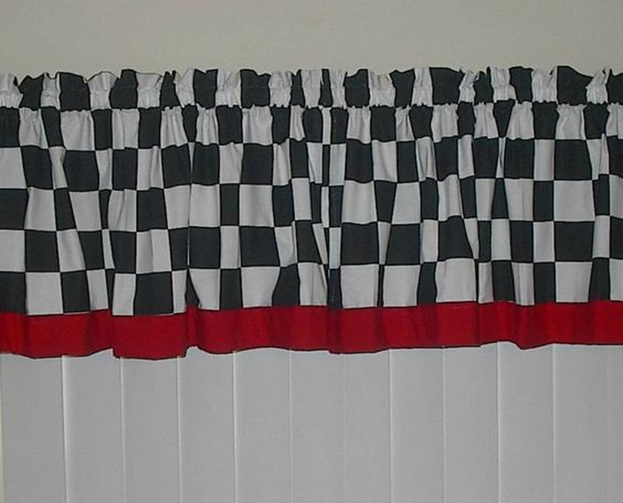 fat chef curtains | Fat Chef Black White Checkered w Red Curtain ...
