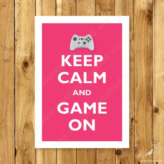 Game Controller Art Print Keep Calm and Game On by WordBirdShop, $9.75.  Available in other colors