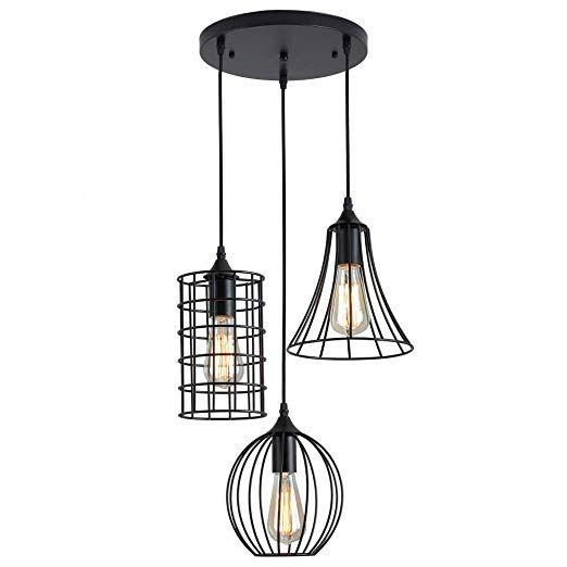 Zz Joakoah Industrial Vintage 3 Light Pendant Ceiling Light Metal Wire Cage Hanging Light Fixture Ceiling Pendant Lights Hanging Light Fixtures Ceiling Lights