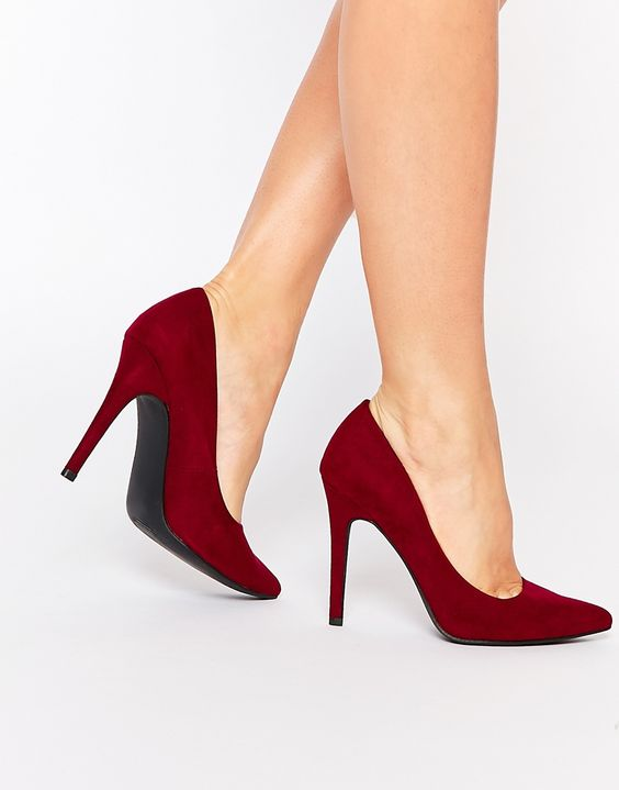 Image 1 ofNew Look Pointed Heel Court Shoe