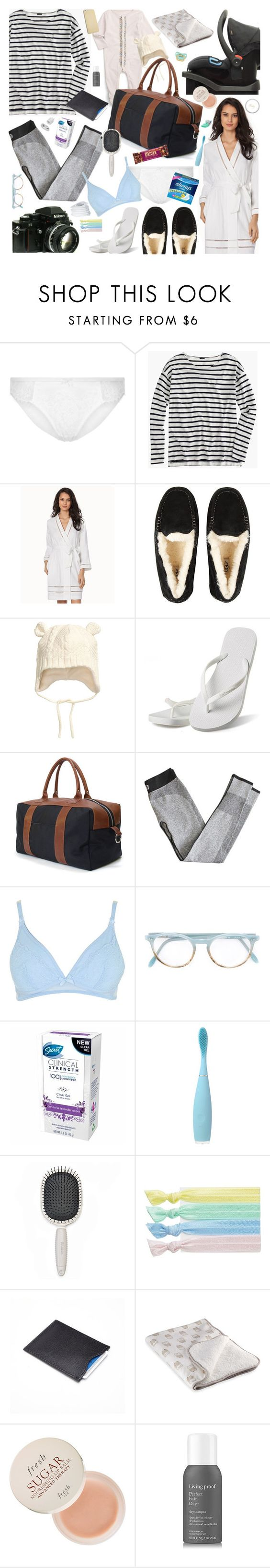 """""""Hospital Bag Packing!"""" by cutandpaste ❤ liked on Polyvore featuring Burberry, J.Crew, Oscar de la Renta, UGG Australia, Blue Claw Co., Topshop, Nikon, Pantos, FOREO and Earth Therapeutics"""
