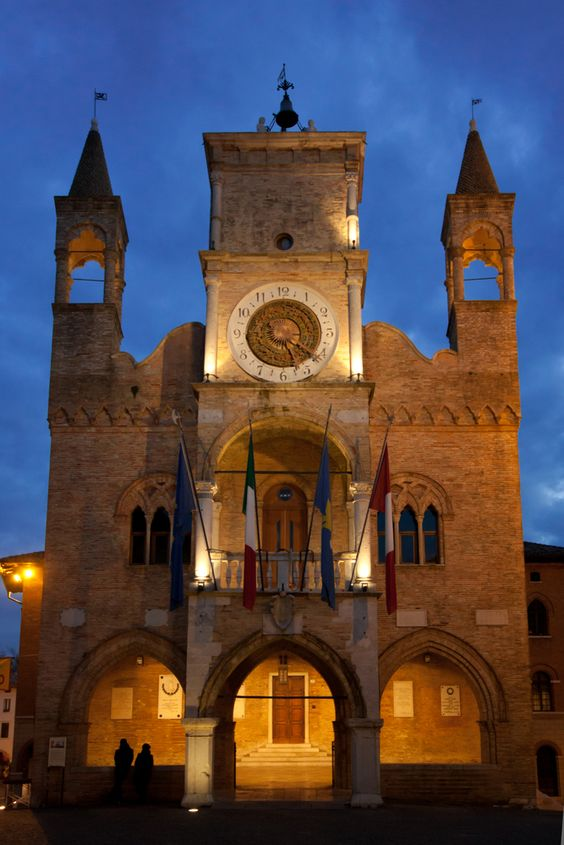 The town hall of Pordenone  The Palazzo Comunale (town hall) (1291) with portico and three-light windows has a Renaissance tower with a clock of the same period.  Province of Pordenone, FRIULI Venezia GIULIA region