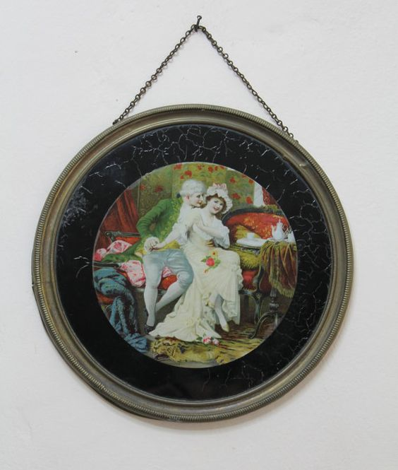 Vintage 18th Century Style Painted Glass Panel by EnglishVintage