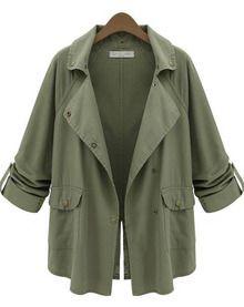 Green Notch Lapel Long Sleeve Pockets Coat