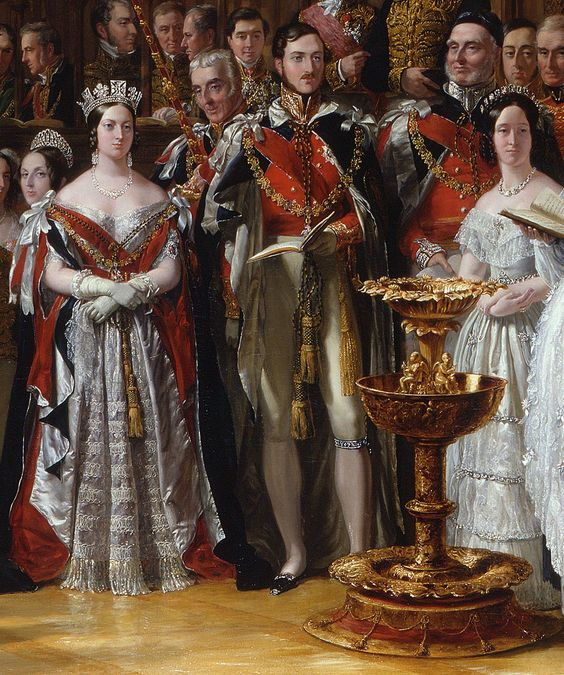 The Christening of The Prince of Wales, 25 January 1842  Artist: Sir George Hayter (1792-1871 (detail close-up of Queen Victoria & Prince Albert)