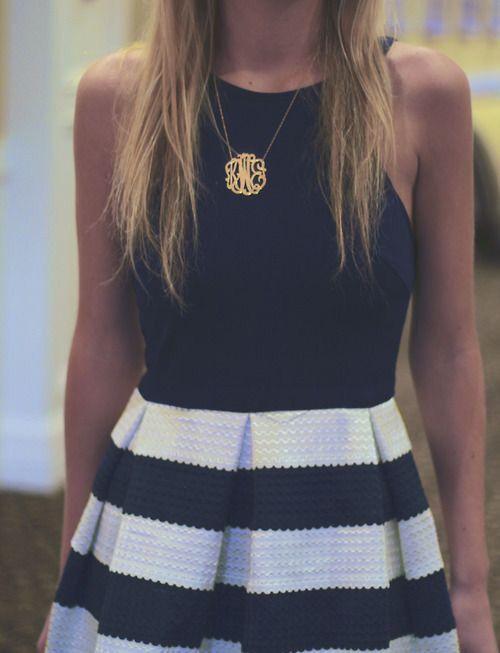 black & white stripe dress and monogram necklace