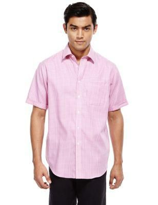 Performance Pure Cotton Non-Iron Slim Fit Short Sleeve Gingham Checked Shirt | M&S #shirt #covetme