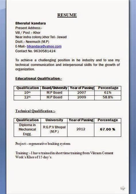 Resume Format For Diploma Mechanical Enginers Freshers Pdf Post Date 23 Nov 2018 78 Sou Resume Format For Freshers Job Resume Format Resume Format