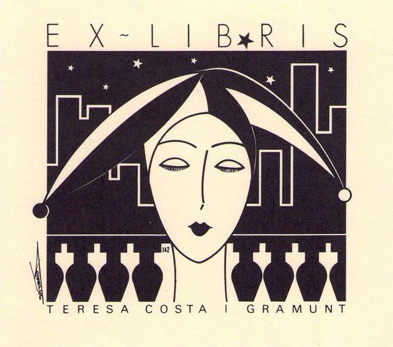 ≡ Bookplate Estate ≡ vintage ex libris labels︱artful book plates - Teresa Costa…