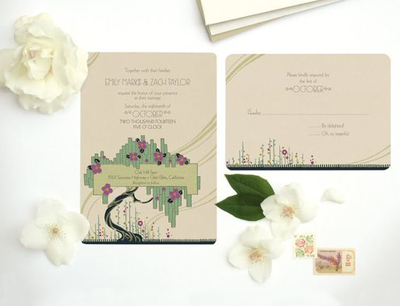 Pink and Green Vintage Wedding Invitations or Save the by GoGoSnap, $85.00