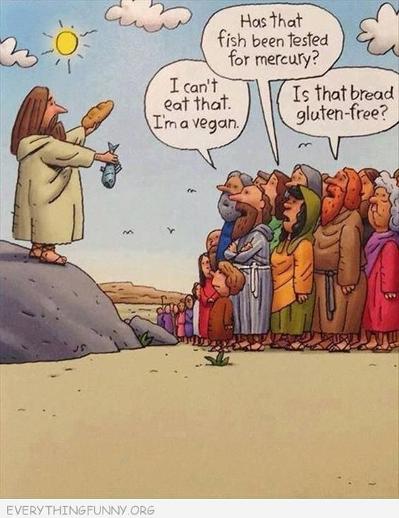 Funny cartoons jesus handing out fish and bread vegan for Loaves and fishes san jose