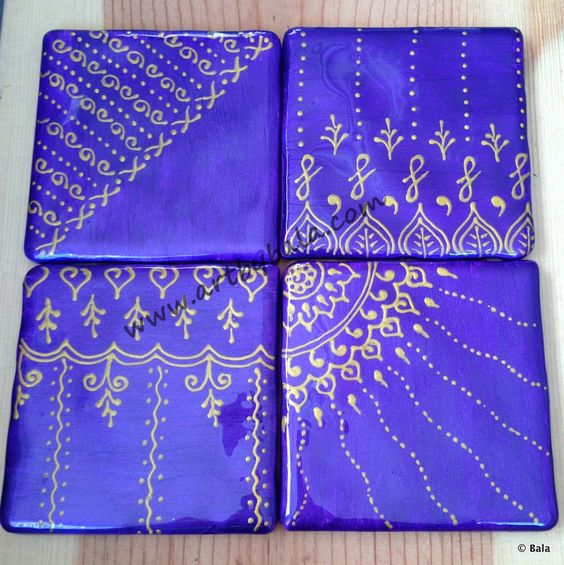 Iridescent Purple with rich gold, Hand-painted henna-style coasters, with acrylics  resin, (c) Bala Thiagarajan, 2014