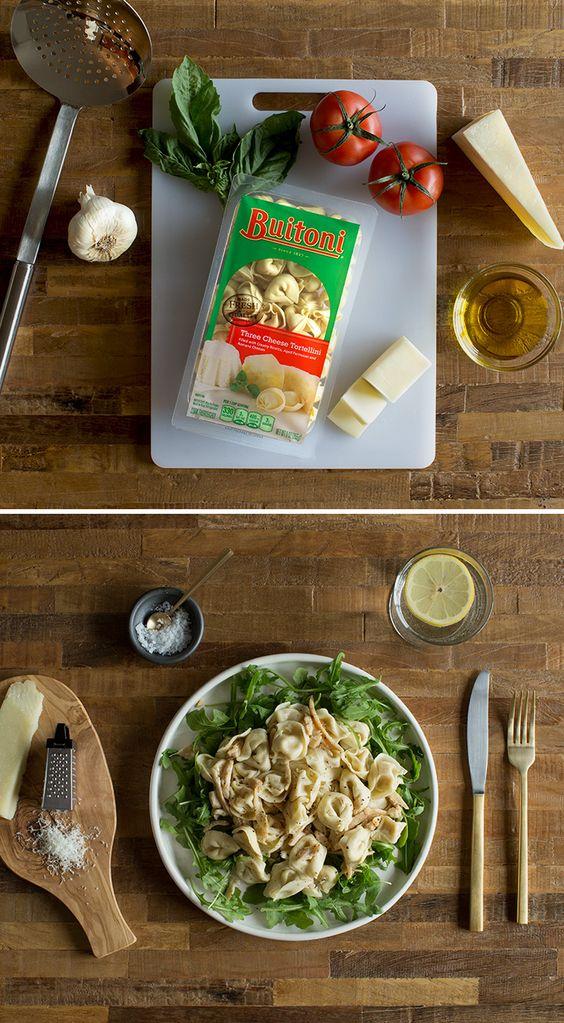 Toss Buitoni Herb Chicken Tortellini and arugula in a warm vinaigrette ...