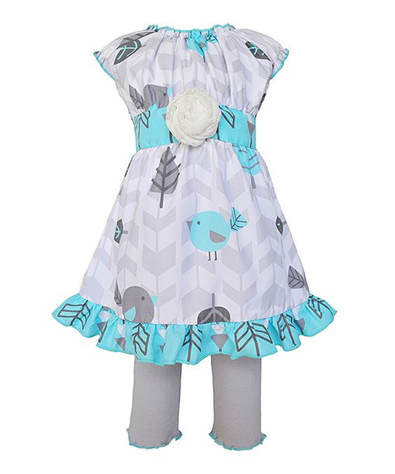 AnnLoren Blue Leaf Ruffle Dress & Leggings - Infant, Toddler & Girls by AnnLoren #zulily #zulilyfinds