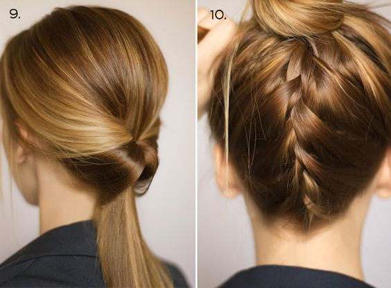 Easy way to change up your hairstyle:  1) inside out, loose ponytail   2) upside down french braid     #upside #down #hair #french #braid #easy #cute #work