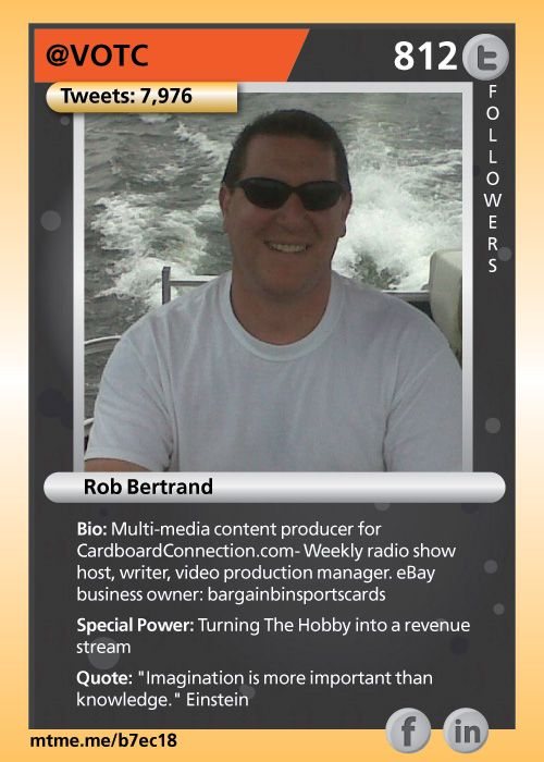 Multi-media content producer for CardboardConnection.com- Weekly radio show host, writer, video production manager. eBay business owner: bargainbinsportscards