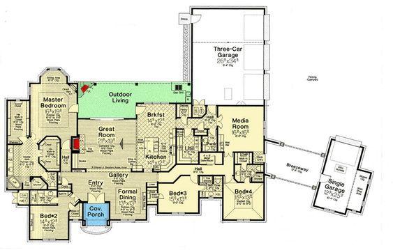 Plan 48570fm Spacious One Story European House Plan European House Plan House Plans European House