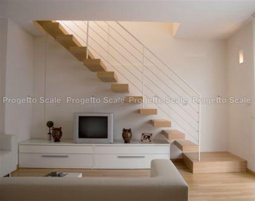 Scala a sbalzo gradini in legno ringhiera inox 15 scale - Scale interne pietra ...
