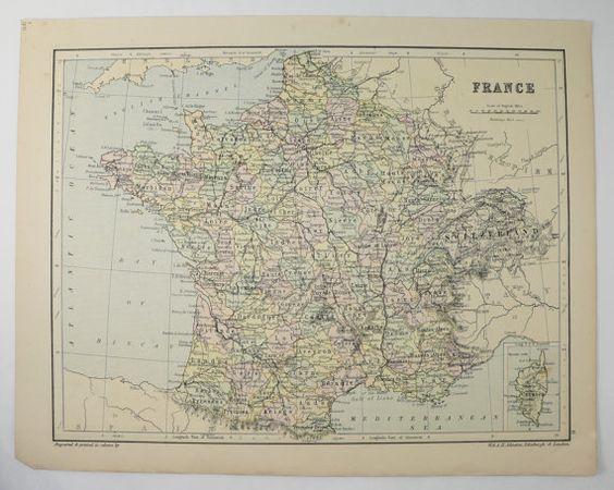 Vintage France Map 1875 Johnston Map of France Belgium Map – Map of France and Belgium