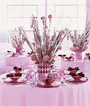 Décoration de table pour un mariage sur le thème de la gourmandise avec des bonbons