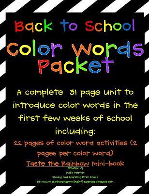 Color word fun + a freebie!