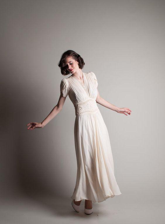 Vintage 1940s Chiffon Dress 40s Wedding Dress by concettascloset