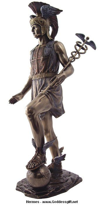 A Greek and Roman messenger of the gods, Mercury or Hermes is a deity of wealth, trade and travelers. Using his winged sandals he named 'talaria,' he assisted many gods in delivering messages. He holds his famous symbol, the caduceus, which later became a symbol for medicine and alchemy.: