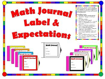 Color code math journals in your classroom! Different printing options. Student name, period, and teacher's name on the label.