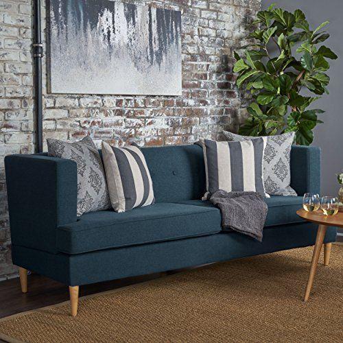 Mckinley Mid Century Modern Navy Blue Fabric Sofa Sofa Front Room Living Room Sofa