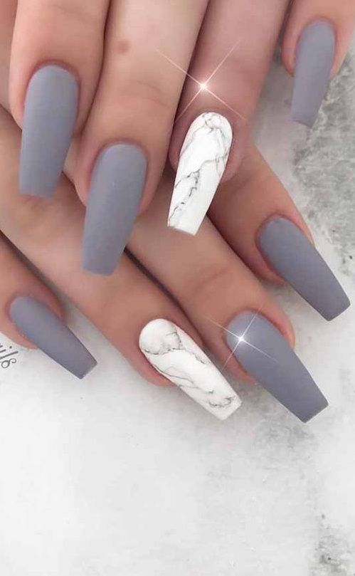 35 Trendy Looking Nail Shapes For This Fall And Winter In 2020 Matte Nails Design Marble Acrylic Nails Gel Nails