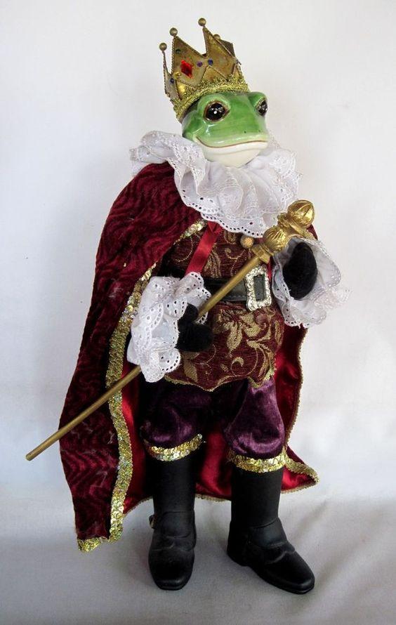 Large FROG PRINCE Figure Fairy Tale 2 Foot Tall w/Glazed Porcelain Head & Crown!