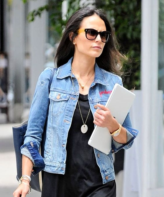 Jordana Brewster is all about her  fun personalized denim jacket! See other celebs who're all about this summer trend!