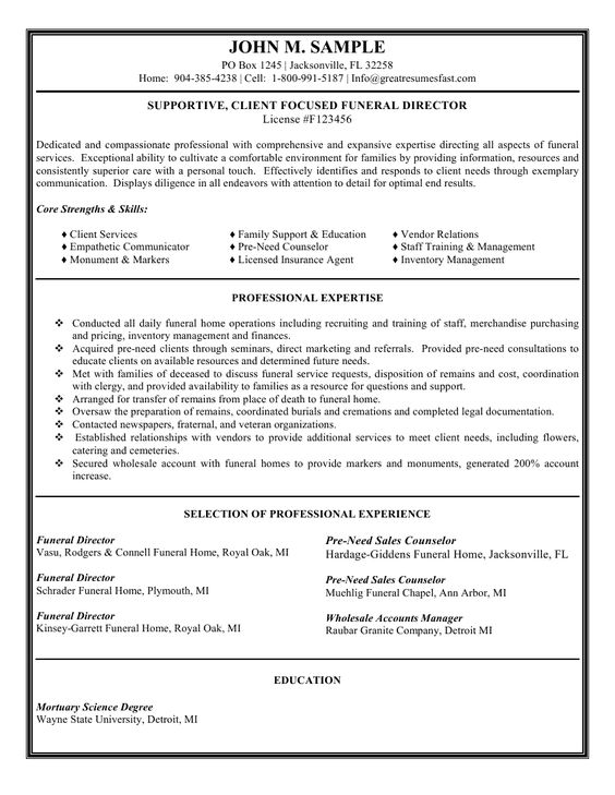 Funeral Director Resume Sales Executive Resume Sample Job - optimum resume