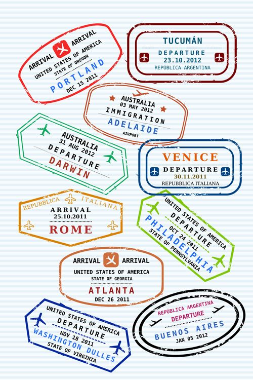 Vector Passport stamps design set 01 | school | Pinterest ...