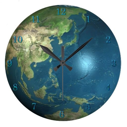 a clock and earth | Planet Earth Wall Clock