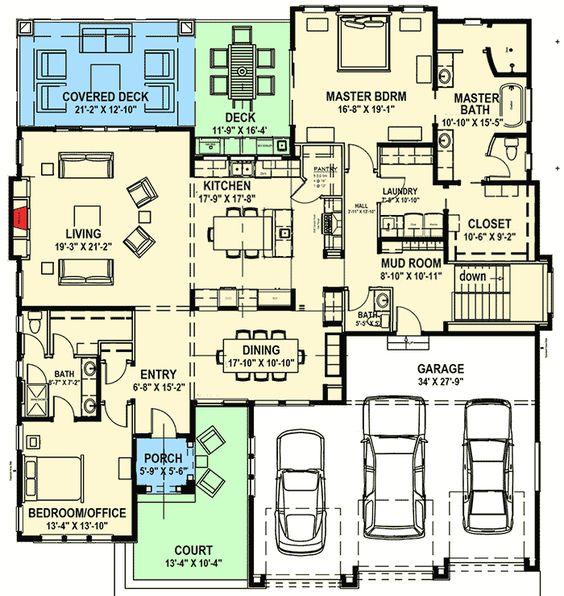 Plan 64421sc modern prairie house plan for a rear sloping for Rear master bedroom house plans