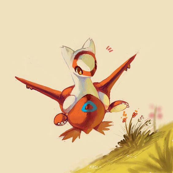 Latias, flying, flowers; Pokemon