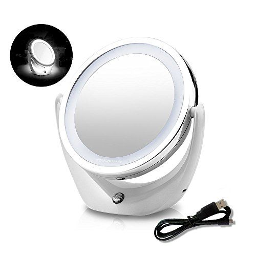 Touchbeauty Led Makeup Double Sided Desktop Mirror With 360 Degree Rotation 1x 5x Magnification Rechargeable M Led Makeup Mirror Makeup Mirrors Makeup Mirror