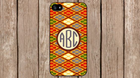 Personalized Monogram Oriental Red Green Pattern for iPhone 4/4s/5/5s/5c Samsung Galaxy S3/S4/S5/Note 2/Note 3 by TopCraftCase, $6.99