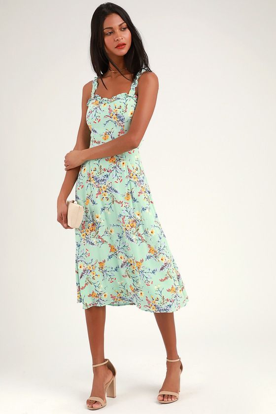 1e8c6f002380 Sunny Meadow Sage Green Floral Print Tie-Back Midi Dress in 2019 ...