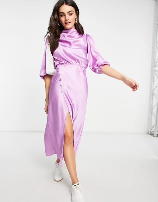 ASOS DESIGN pleat cowl neck satin midi tea dress with puff sleeve in lilac
