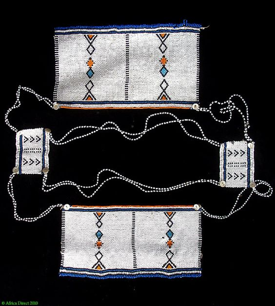 Africa | Amapasi beaded necklace from the Xhosa people of South Africa | Beads, buttons and fiber | ca. 1960s.