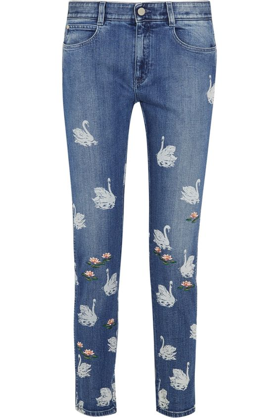 Stella McCartney Swan printed embroidered high-rise skinny jeans