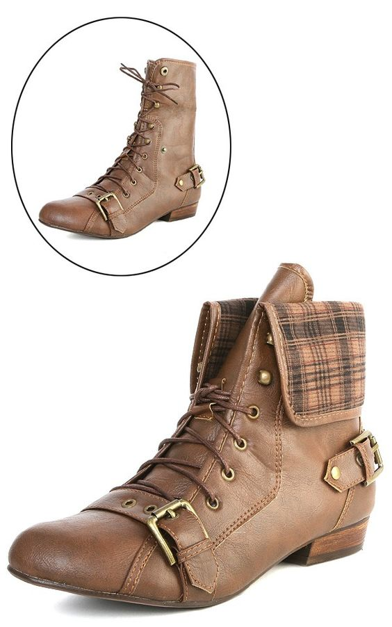 Jacobies Break1 Brown Buckle Laced Two Way Boots and Shop Boots at MakeMeChic.com