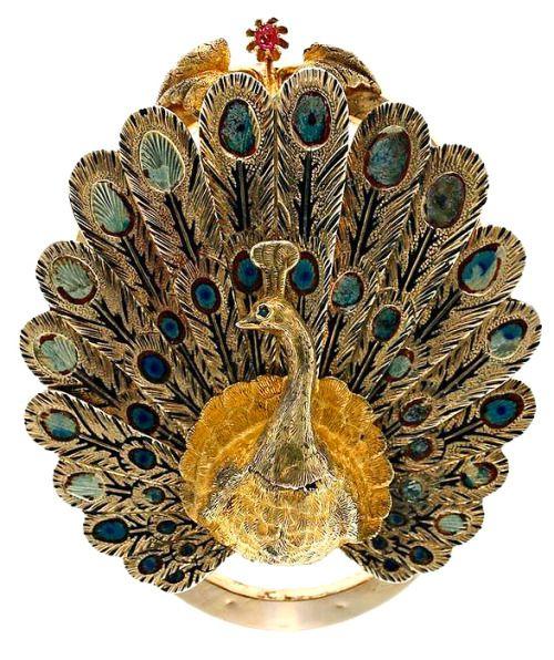 Luis Masriera art nouveau peacock brooch 1900:
