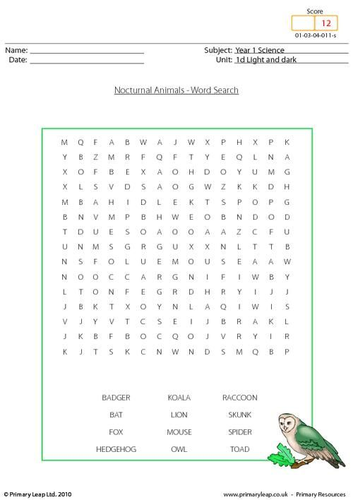 year 1 science nocturnal animals word search science printable worksheets primaryleap. Black Bedroom Furniture Sets. Home Design Ideas